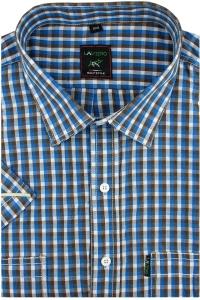 cc22586ac03fc5 Duża Koszula Męska Laviino brązowa w kratkę na krótki rękaw duże rozmiary  K925