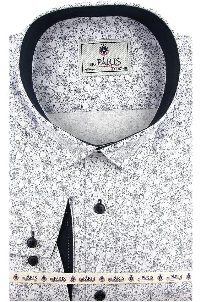 Duża Koszula Męska Big Paris biała w kropki kółka z długim rękawem Duże rozmiary A519