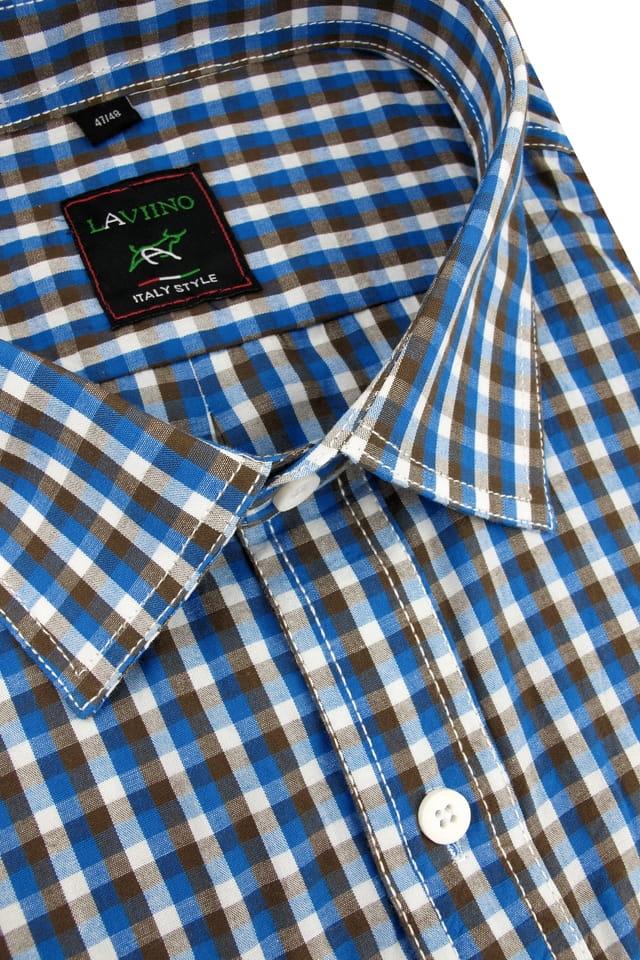 Duża Koszula Męska Laviino niebieska w kratkę z krótkim  eiSmz