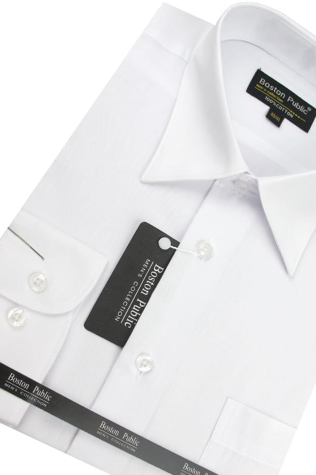 Koszula Męska Boston Public gładka biała z długim rękawem  GZaln