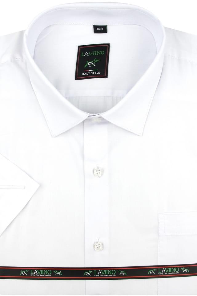 Koszula Męska Laviino gładka biała z krótkim rękawem w kroju  uRz5m