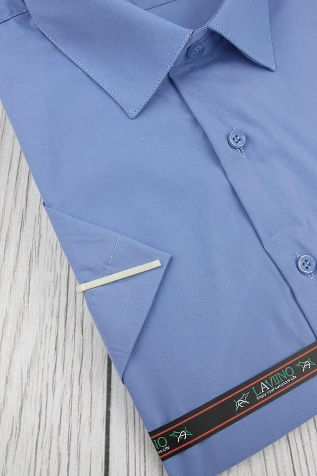 Duża Koszula Męska Laviino gładka niebieska Duże rozmiary z  TkuQF