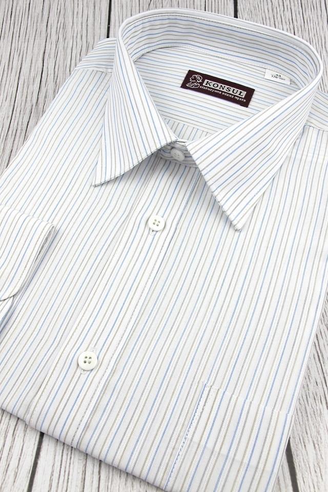Koszula Męska Konsul biała w paski z długim rękawem w kroju  PR5wq