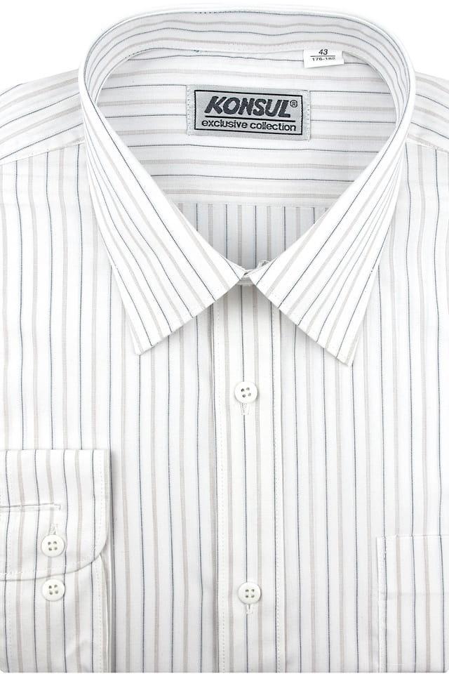 Koszula Męska Konsul biała w paski na długi rękaw w kroju