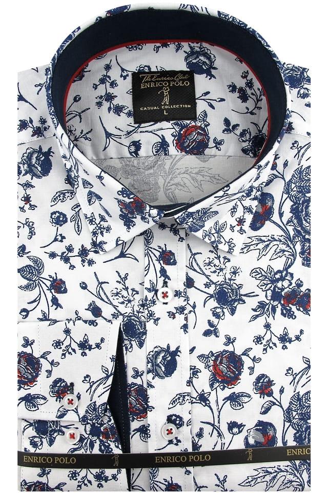 Koszula Męska Enrico Polo biała w kwiaty z długim rękawem w  ntxp7