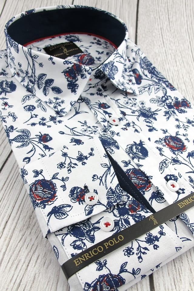 Koszula Męska Enrico Polo biała w kwiaty z długim rękawem w  xr8SR