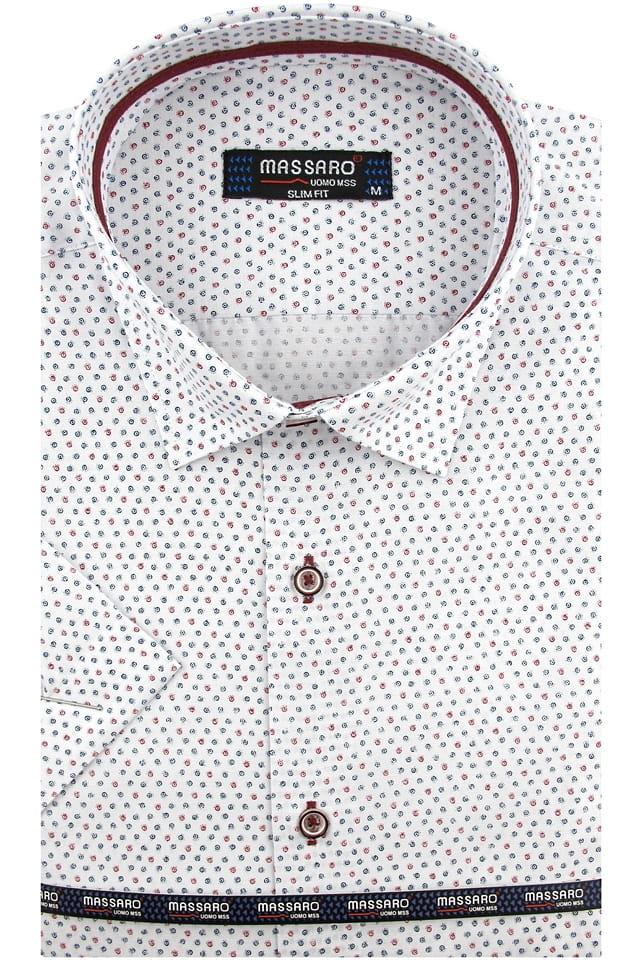 Koszula Męska Massaro biała we wzorki z krótkim rękawem w  YQhF0