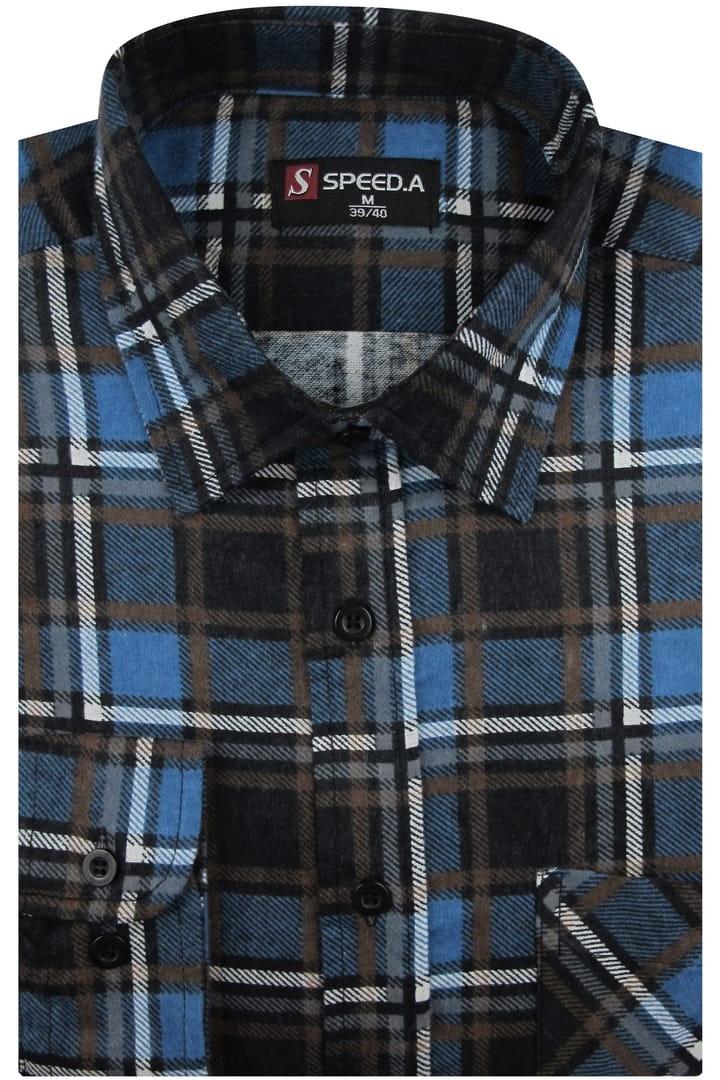 Flanelowa Koszula Męska Speed.A niebieska w kratę z długim  DAs63