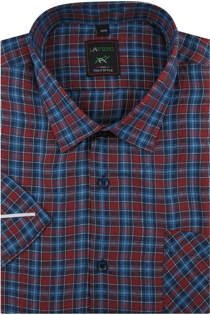 Koszula Męska z kory bez prasowania bordowa w kratę z  2BlaS
