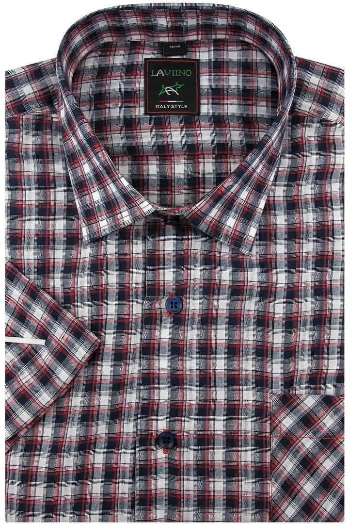 Koszula Męska z kory bez prasowania bordowa w kratę z  eJHb3