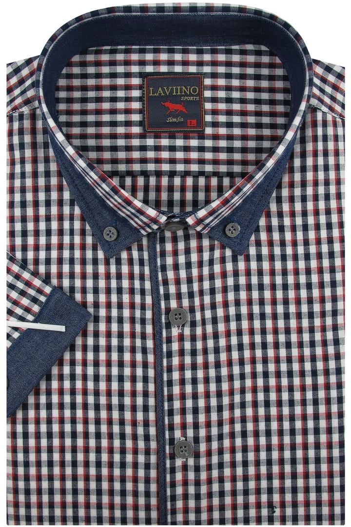 Koszula Męska czerwona w kratkę z lamówką z dodatkiem jeans  NEIIQ